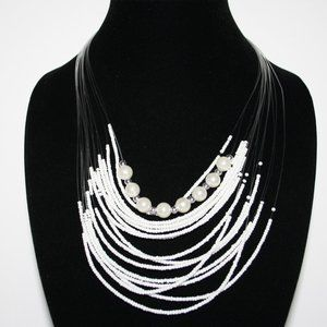White beaded layered pearl necklace 22""